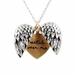 Angel Wing Watch Over Me Necklace Locket Silver